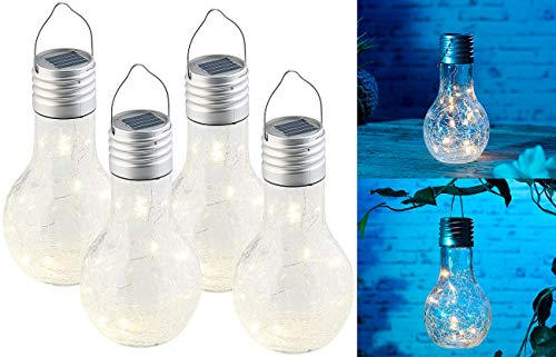 Lunartec Solar Glühbirne: 4er-Set Deko-LED-Glühbirne im Crackle-Glas-Design, Dämmerungs-Sensor (LED Solar)