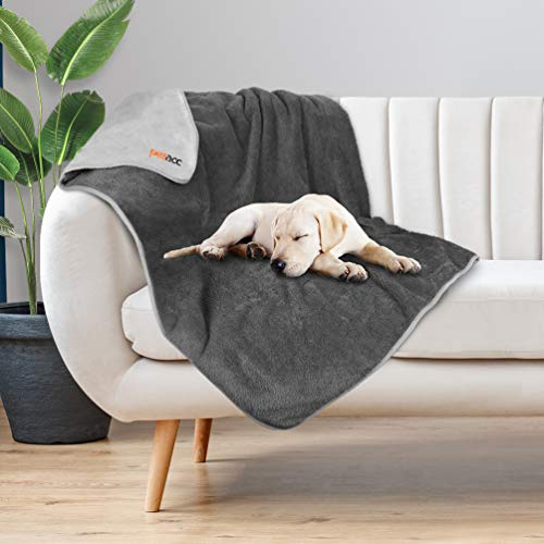 "Petacc Waterproof Dog Blankets with Reversible Design, Liquid Proof Pet Blanket for Bed Couch Sofa, Soft Warm Flannel Sherpa Sleep Mat for Dog Cat, Waterproof Dog Bed Cover-Machine Washable, 60""x50"