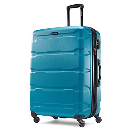 Samsonite Omni PC Hardside Expandable Luggage with Spinner Wheels, Caribbean Blue, Checked-Large 28-Inch