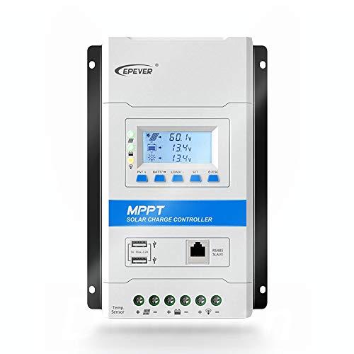 EPEVER® 30A MPPT Régulateur de Charge Solaire 12V/24V Contrôleur de Charge de Batterie pour Panneau Solaire avec Écran LCD et Double Port USB - TRIRON 3210N
