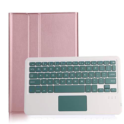 HaoHZ Funda Teclado para Galaxy Tab S7 11 '' 2020 (Modelo SM-T870 / T875 / T878) con Soporte para Lápiz S, Teclado Bluetooth Inalámbrico Desmontable con Panel Táctil,Pink Case,Green2 Keyboard
