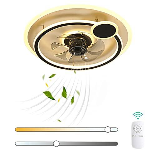 VOMI LED Ventilador de Techo con Luz 57W Regulable Moderno Lámpara de Ventilador con Mando a Distancia Silenciar Anillo Creatividad Metal Ventilador Velocidad del Viento Ajustable para Salón