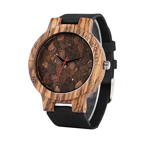 Reloj De Madera Unisex, Reloj De Cuarzo con Escala De Hora Simple, con Pulsera De Madera Natural, Hecho A Mano Y Respetuoso con El Medio Ambiente, Familiares Y Amigos