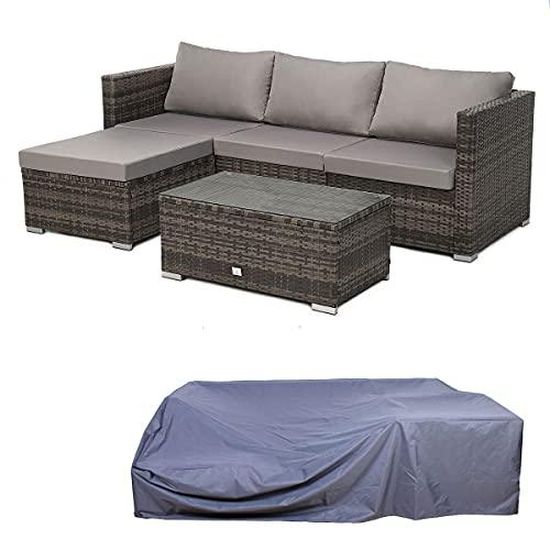SVITA Queens Polyrattan Lounge Eck-Sofa Gartenmöbel Sitzecke Haube Set Braun