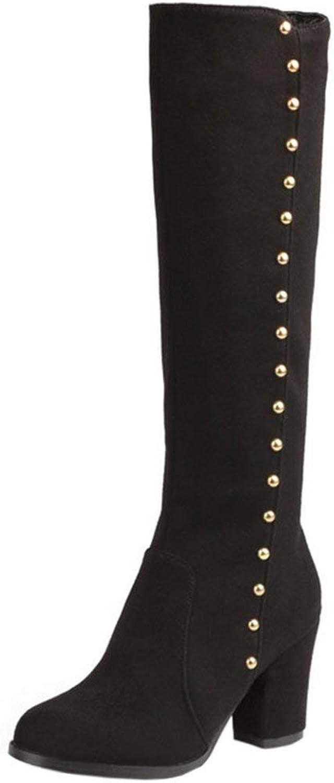 Unm Women Fashion Autumn Winter shoes Block High Heel Mid-Calf Boots