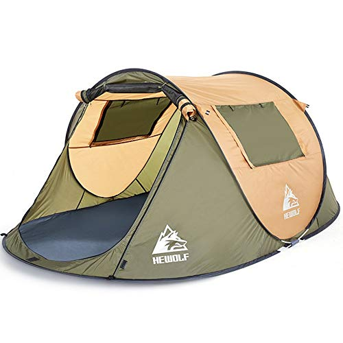 NBNBN Camping Tents for Family Instant Backpack Waterproof Couple Beach Tent Outdoor Camping Hiking Ventilation Mesh Window with Carry Bag and Quick Set-up (Color : Brown, Size : One Size)
