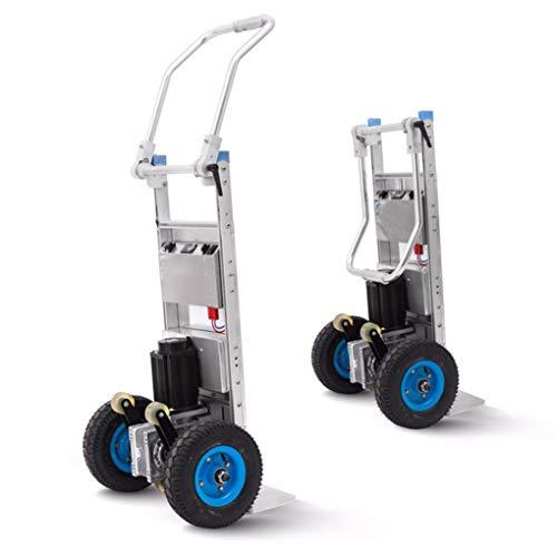 Carro eléctrico para subir escaleras Carro portátil para subir 240 kg, carretilla portátil para subir escaleras portátil de servicio pesado con 2 ruedas, motor de CC sin escobillas y batería de alim