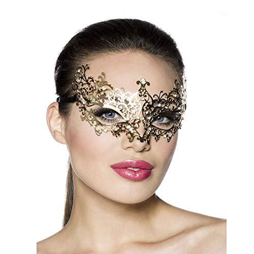 Lady of Luck Venezianischen Metall Party Karneval Fasching Prinzessin Metall Strass Maske Schwarz