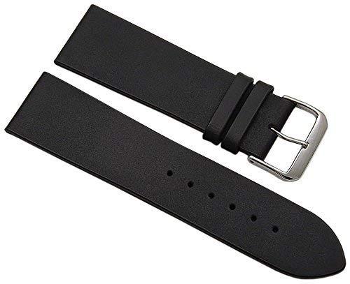24mm Kalbsleder Uhrenarmband Made in Germany in Schwarz mit silberfarbender Dornschließe inkl. Myledershop Montageanleitung