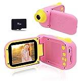 Kinder Kamera 8.0 MP Digitalkamera für Kinder 2.4 Inch Bildschirm Videorecorder Elektronisches Spielzeug Geburtstagsgeschenke Weihnachtsspiel für 3-6 Jährige Mädchen Rosa (16G SD-Karte Enthalten) -