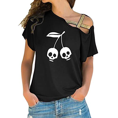 BIBOKAOKE Camiseta de manga corta para mujer, estilo informal, para verano, con estampado, Negro 55., S