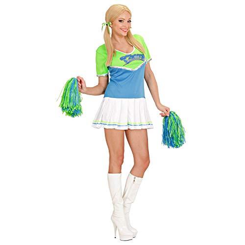 WIDMANN 79133 79133 - Disfraz de animadora con 2 pompones para la escuela, deportes, colegiala para carnaval, fiesta temtica, mujer, color verde/azul claro, talla L