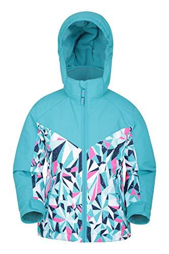Mountain Warehouse Veste de Ski Snowstorm imprimée pour Enfant - Manteau d'Hiver étanche - Capuche à Doublure en Polaire - Jupe Pare-Neige Fixe - pour Snowboard Sarcelle 11-12 Ans