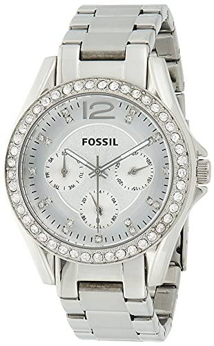 FOSSIL Womens Watch Riley, 38mm case size, Quartz Multifunction movement, Stainless Steel strap