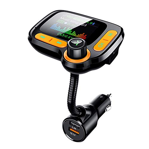 """Bluetooth 5.0 FM Transmitter for Car 1.77"""" TFT Color Screen Wireless FM Radio Adapter Car Kit Hands-Free 3 USB Ports with QC3.0 Charger AUX Input/TF Card/USB Drive MP3 Player"""