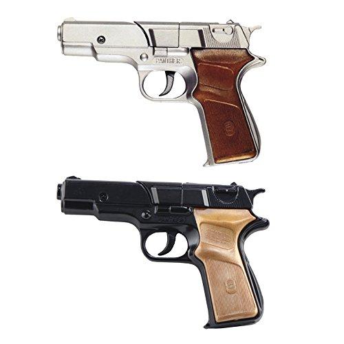 Pistola giocattolo in metallo, 8 colpi Modello panther, argento A tamburo Impugnatura in finto legno Utilizza munizioni 8 colpi - 125 dB Munizioni non incluse Prodotto in italia Lunghezza: 17 cm