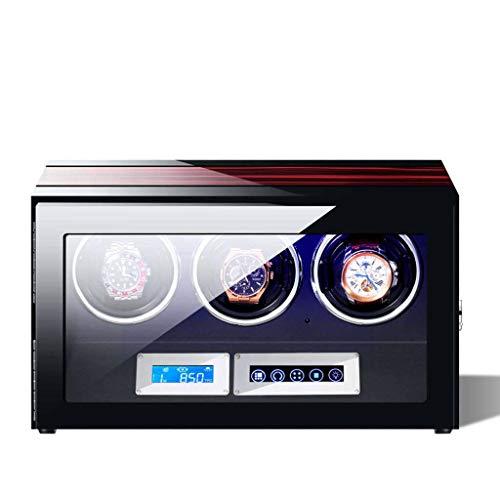 Uhrenbeweger,Watch Winder automatischer Mute LCD-Touchscreen Fernbedienung Glasdeckel Uhrenbox Vitrine Metallschloss LED Beleuchtung 5 Drehmodus Mechanische Uhr - 3
