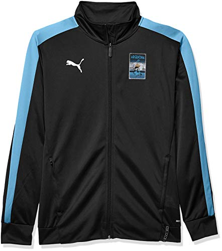 PUMA Copa America T7 Jacket Chaqueta calentadora, Negro/Azul Azure, M para Hombre