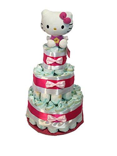 Tarta de pañales Hello Kitty rosa MomentosGourmet