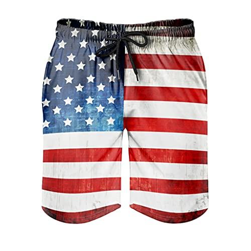 kikomia Herren Badehose Grunge amerikanische Flagge Kunst Druck Retro Surf Badeanzug mit Taschen White XL