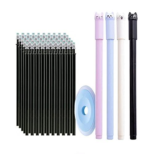 VusiElag Negro 55 unids/set Erasable Pen Refill Set Varillas 0.5mm Magic Gel Borrable Pluma Lavable Mango Oficina Escuela Escritura Papelería