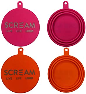 SCREAM Silicone Pet Food Can Cover 2Pk, Loud Pink & Orange