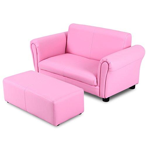 DREAMADE Kindersofa mit Fußhocker Kindersessel, Kinder Doppelsofa Kindercouch, Kinder Möbel Kindersofa für Jungen und Mädchen, aus Holz und PVC Material (Pink)