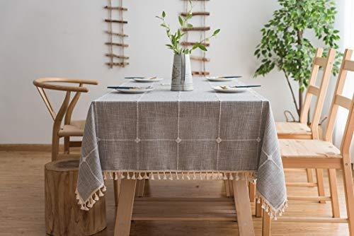Lanqinglv Quaste Tischdecke 110x110 Grau Kariert Baumwolle und Leinen Tischtuch Couchtisch Tischdecke Quadratisch Abwaschbar Küchentischabdeckung für Speisetisch (110x110,Grau)