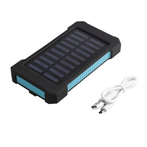 WOSOYES® Impermeabile Durevole 300000mAh Caricatore Portatile ad energia Solare Doppia Batteria USB Batteria per Emergenza Esterna (Blu)