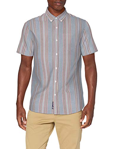 Superdry Herren SS East Coast Oxford Shirt Freizeithemd, Blau (Denim Blue Stripe 3AH), Medium