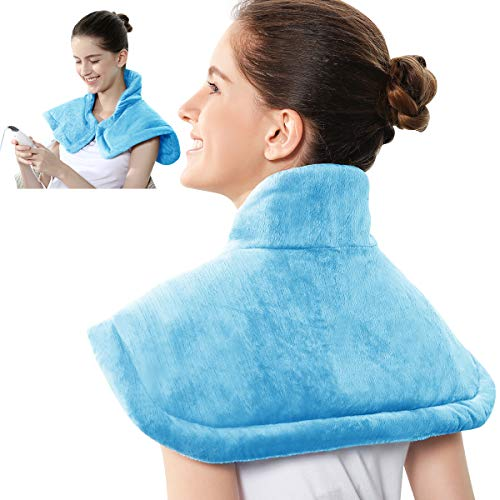 REVIX Electric Heating Pad for Neck and Shoulders Pain Relief with Auto-Off, Soft Micromink Neck Heated Wrap with Moist...