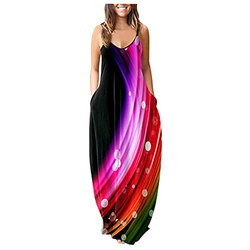 OutTop Women Plus Size Sleeveless Dresses Summer Spaghetti Strap V-Neck Sling Loose Long Maxi Dress with Pocket (E-Pink, XXXL)