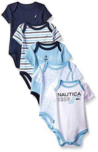 Nautica Baby Boys' Newborn Five-Pack Bodysuits, Assorted Light Blue, 0-3 Months