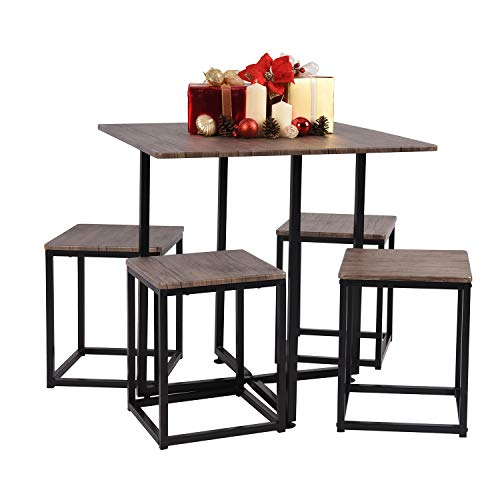 MEUBLE COSY Dining Table and 4 Chairs Set Modern Kitchen Dining Set