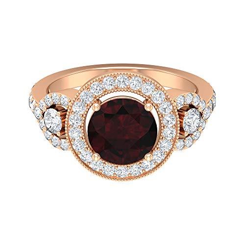 Anillo solitario vintage, piedras preciosas redondas de 2,65 quilates, anillo de moissanita D-VSSI, anillo de granate de 8 mm, joyería nupcial, 14K Oro rosa, Size:EU 60