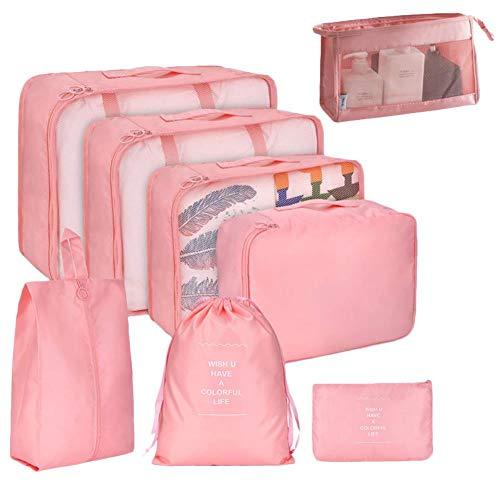 Wxianmy 8 bolsas de almacenamiento multifunción para viajes, bolsa organizadora portátil de gran capacidad, bolsa de almacenamiento con cordón para hombres y mujeres, regalo de viaje a casa
