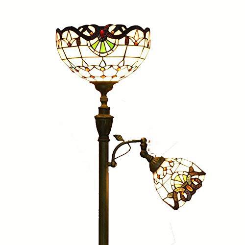 Tiffany h168 cm salle de lumière de plancher 2 têtes de bronze méditerranéen chambre salle d'Étude en métal Lampe de plancher de luxe européens accessoires de éclairage de plancher B