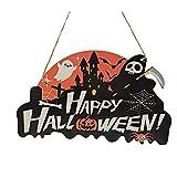 Colgante de madera con el número de casa de Halloween, con diseño de calabaza, cráneo, araña, murciélago, decoración para el hogar de Halloween