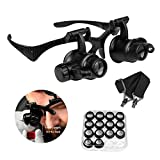 Qooltek Bracket/Headband Magnifying Glass Jewelry Clock Repair Loupe with 2 LED Lights and...