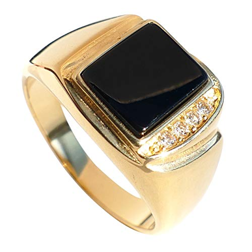 Free Engraving Of Your Choice! Ah! Jewellery Men's Genuine Black ONYX 24k Gold Over Stainless Steel Ring Accented with 4 Brilliant Round Crystals. 10.8mm Centre Stone. 7.1gr.