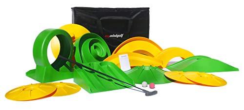 myminigolf Basic Minigolf Komplettset (Minigolf-Set mit 13 Hindernisse, Tasche, Schläger, Bälle, Block) 002