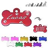 Iberiagifts - Hueso para Mascotas Medianas-Grandes con Patas Placa Chapa de identificación Personalizada para Collar Perro Gato Mascota grabada (Rojo)