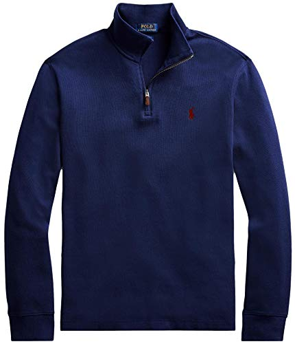 Polo Ralph Lauren Men Half Zip French Rib Cotton Sweater (XL, CruiseNavy)