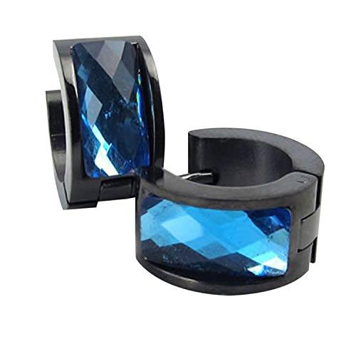 Cikuso Pendientes de joyeria de Hombres, Pendientes de aro de Acero Inoxidable, de Color Azul y Negro