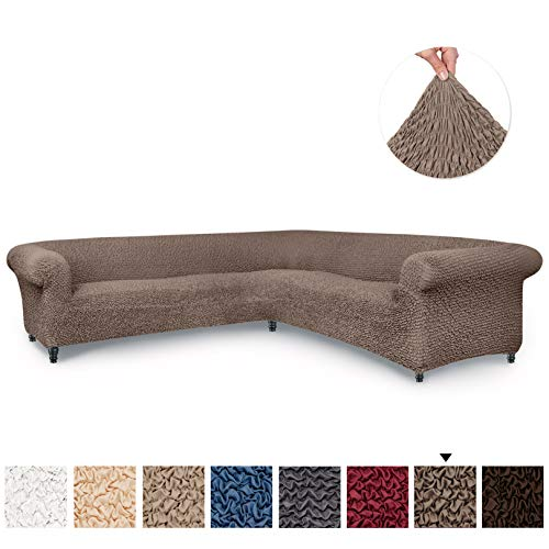 Sectional Sofa Cover - Corner Couch Cover - Corner Slipcover - Soft Polyester Fabric Slipcovers - 1-piece Form Fit Stretch Furniture Slipcover - Microfibra Collection - Сappuccino (Corner Sofa)