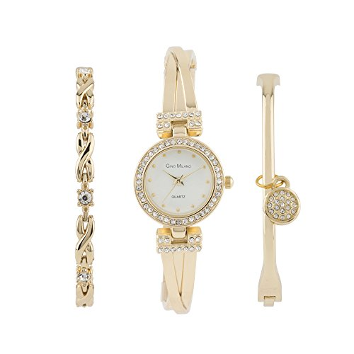 Women's Bangle Bling Watch and Multi Bracelet Matching 3 Piece Set with Gift Box-(Gold-White)