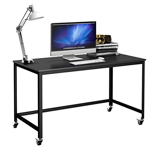 TANGKULA Mobile Computer Desk, Simple Style Rolling Home Office Study Table Writing Desk, Movable Workstation with 4 Smooth Wheels, Home Office Collection Work Table