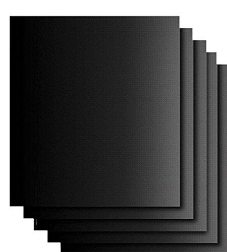 Vikenner - Alfombrilla de Silicona para Horno con Revestimiento Antiadherente de teflón para Barbacoa de hasta 300 °C, Ideal para cocinas de Gas, Color Negro, 5pcs, Paquete de 5