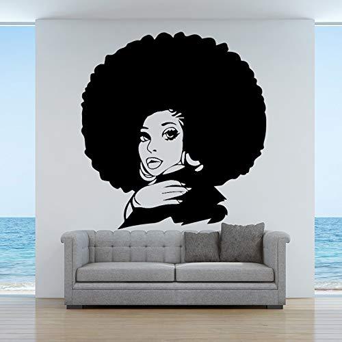 Tianpengyuanshuai Mode afrikanische Frauen Wandaufkleber Vinyl Selbstklebende Wandaufkleber Raum Applique Beauty Salon 30X31cm