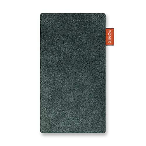 YOMIX Hugo Smaragd Handytasche Tasche für LG G8X ThinQ aus Alcantara® mit Microfaserinnenfutter | Hülle mit Reinigungsfunktion | Made in Germany
